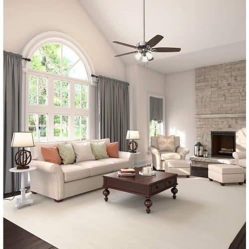 Luxurious living room with a ceiling fan
