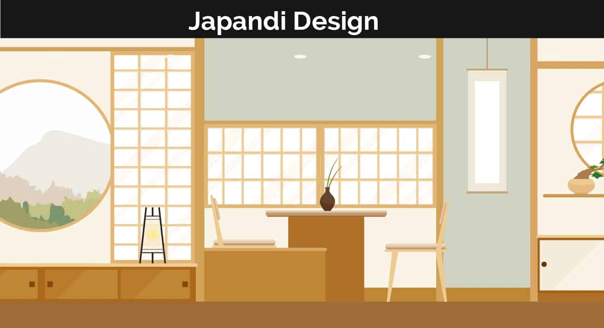 Japandi decor illustration